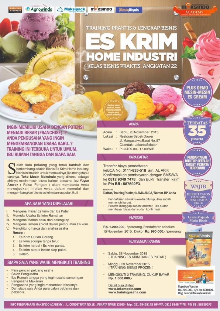 brosur training Bisnis Es Krim Home Industry
